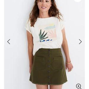 Madewell green denim skirt